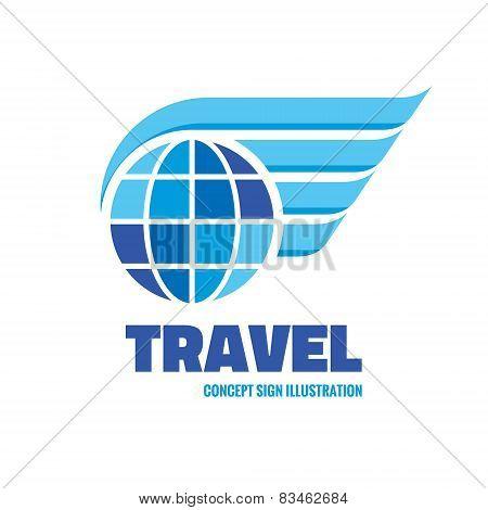 Travel - vector logo concept illustration. Globe with wings logo. Vector logo template.