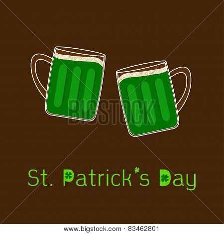 St Patricks Day Two Clink Green Beer Glasses Mug With Foam Cap Froth Bubble. Flat Design