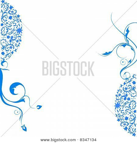 blue floral swirls background