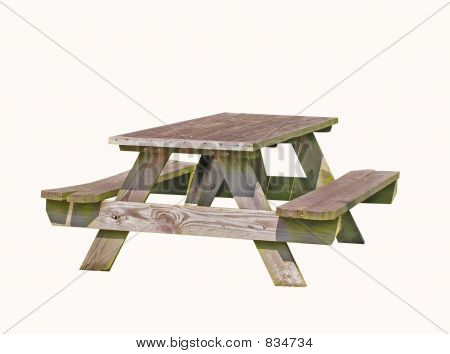 Picnic Table on White Background
