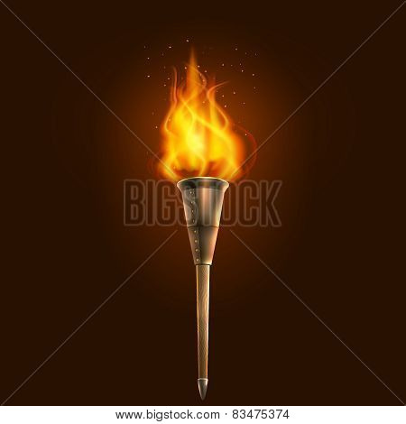 Torch illustration icon poster