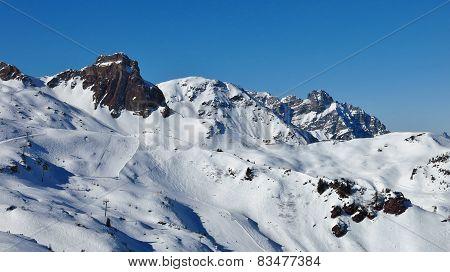 Ski Slopes In The Flumserberg Ski Area