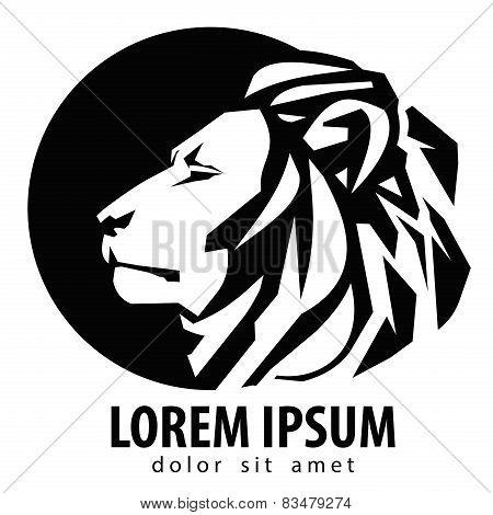 lion logo design template. wildlife or zoo icon.