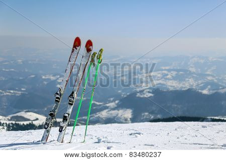 Skis in mountain Kopaonik in winter,  Serbia. poster
