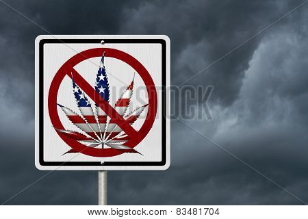 Driving Under the Influence of Marijuana A road highway sign with a marijuana leaf in USA flag colors with stormy sky background poster