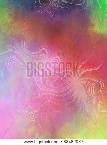 Abstract Plasmatic Background In Red, Yellow, Blue And Green