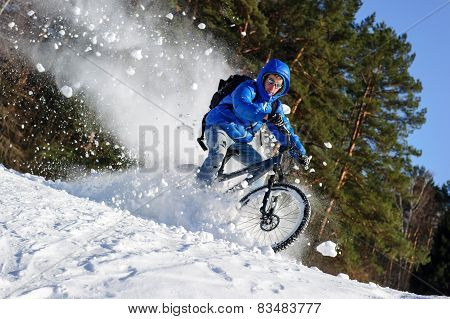 Bicyclist snow