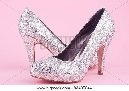 shiny high heel shoes