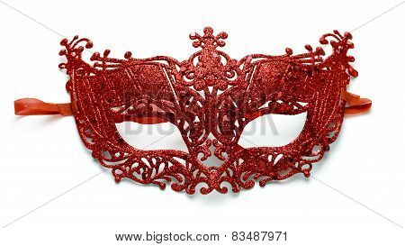 Red lacy carnival mask on white background poster