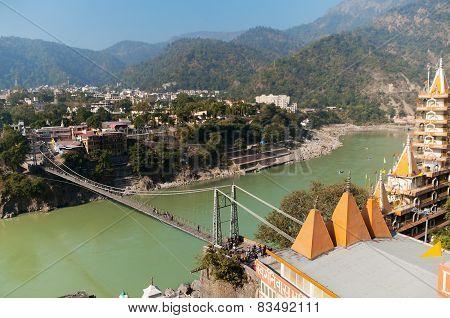 View Of River Ganga And Laxman Jhula Bridge