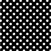 White polka dots on black background for albums, scrapbooks, decorating, arts and crafts. EPS8 includes a pattern swatch (tile) that will seamlessly fill any shape. poster