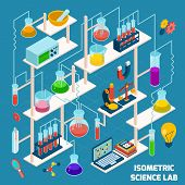 Isometric science lab research process with chemistry and physics 3d icons vector illustration poster