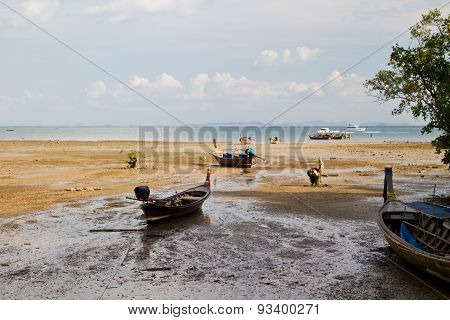 Long Tail Boat  In Railay Beach Thailand