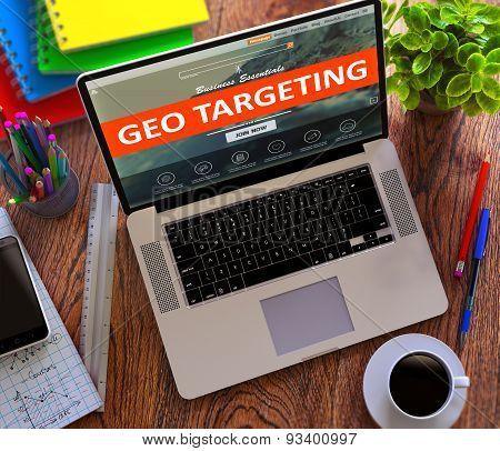 Geo Targeting. Online Working Concept.
