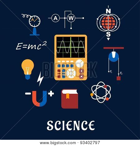 Science physics flat icons set