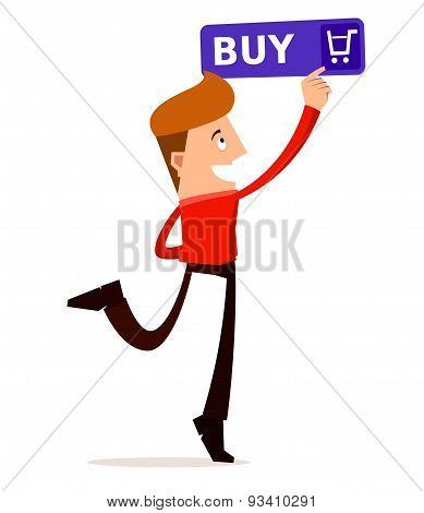 young man press the buy button