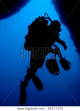 Silhouette Of Professional Underwater Photographer