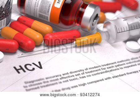 Diagnosis - HCV. Medical Concept. 3D Render.
