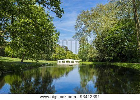 Lake bridge and green trees