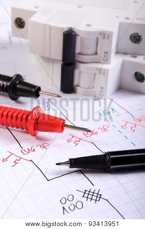 Cables Of Multimeter Pen And Electric Fuse On Electrical Drawing