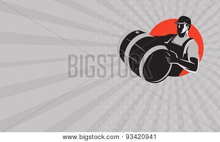 Business Card Man Carrying Wine Barrel Cask Keg Retro