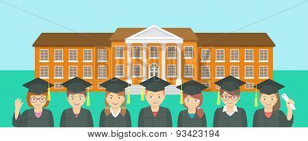 Flat Style Kids Graduation And School Building