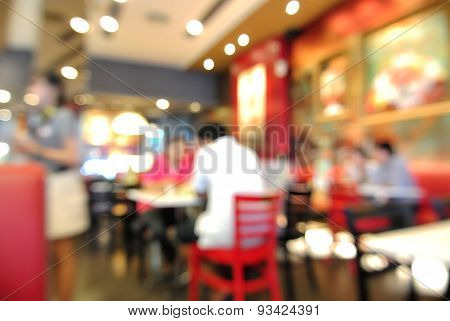 Blur Or Defocus Background Of People Eating In Restaurant