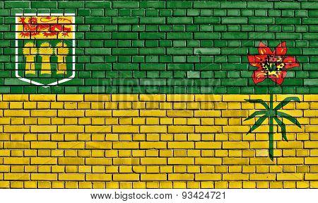 Flag Of Saskatchewan Painted On Brick Wall