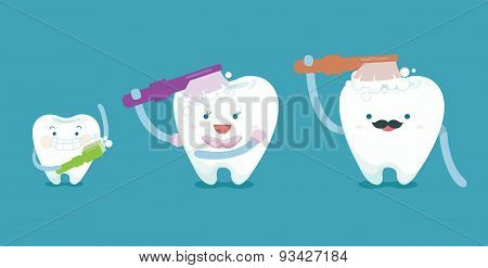 Family teeth are brushing
