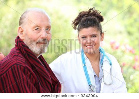 senior man with doctor or nurse