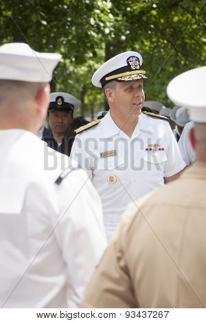NEW YORK - MAY 22 2015: Admiral Phil Davidson, Commander, US Fleet Forces Command, speaks to personnel during the re-enlistment and promotion ceremony at the National September 11 Memorial site.