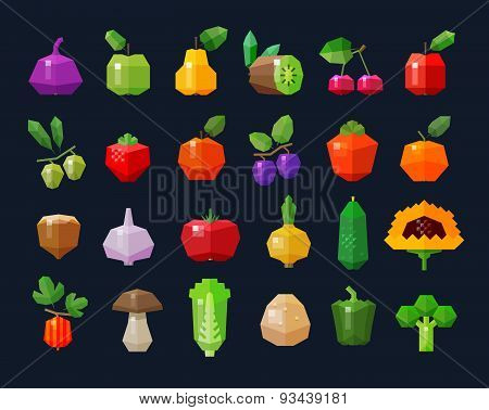 fruits and vegetables, fresh food icons set. collection of elements - figs, apple, pear, kiwi, cherr