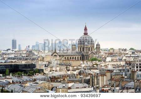 Saint-augustin Church With Paris Skyline