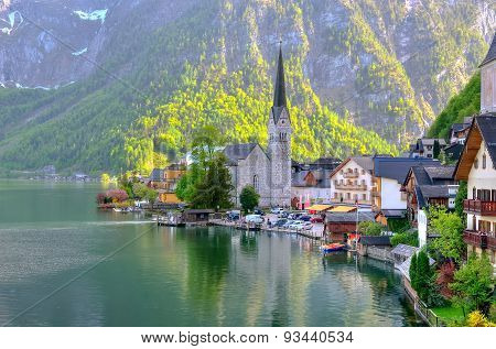 Hallstatt village in Alps Austria.