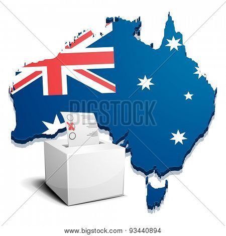 detailed illustration of a ballotbox in front of a map of Australia, eps10 vector