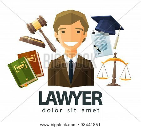 lawyer, attorney, jurist vector logo design template. jurisprudence, law or court icon. flat illustr
