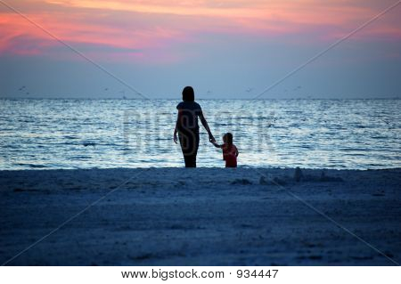 Mom And Child On The Beach