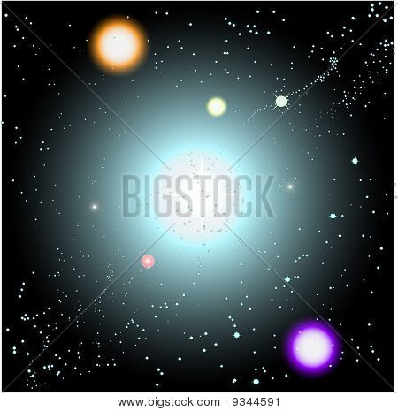 Vector Space Scene With Suns And Stars