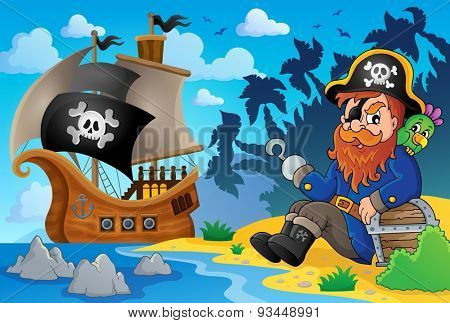 Sitting pirate theme image 8 - eps10 vector illustration.