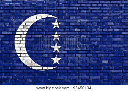 Flag Of Grande Comore Painted On Brick Wall