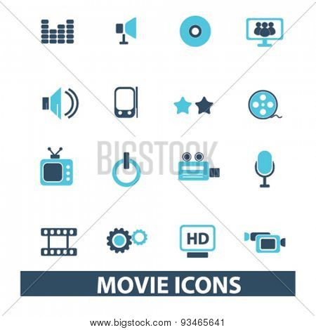 movie, cinema icons, signs, illustrations set, vector