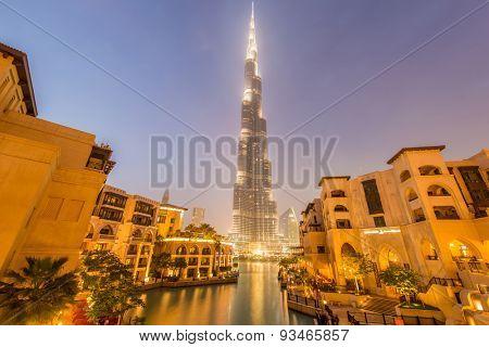 Dubai - JANUARY 9, 2015: Burj Khalifa building on January 9 in UAE, Dubai. Burj Khalifa skyscraper is tallest in the world