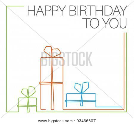 Vector minimalist Birthday card template - continuous line drawing