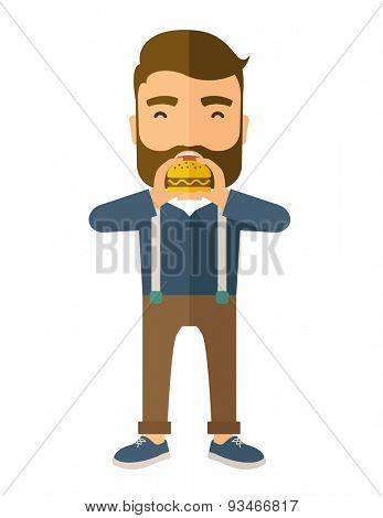 A happy Hipster office man eating hamburger as his snack break. Relaxing concept. A Contemporary style. Vector flat design illustration isolated white background. Vertical layout.