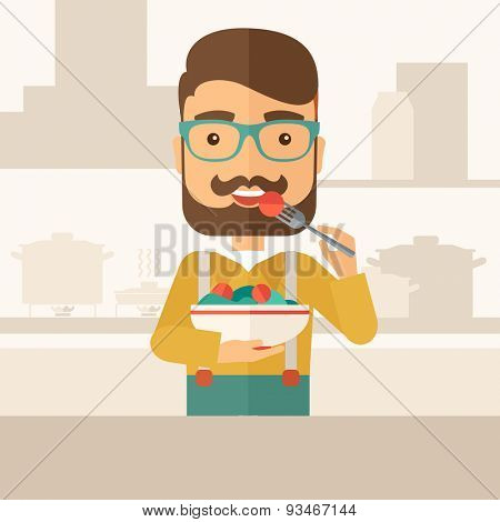A hungry man eating meal with his fork and by carrying the bowl. Craving concept. A Contemporary style with pastel palette, soft beige tinted background. Vector flat design illustration. Square layout