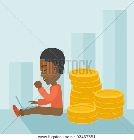 A successful black businessman sitting with pile of gold at his back nand a laptop on his lap. Winner concept. A contemporary style with pastel palette soft blue tinted background. Vector flat design