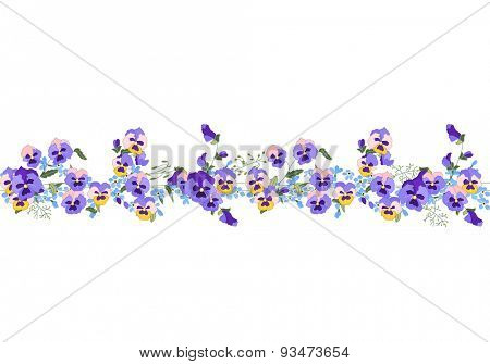 Seamless pattern brush with stylized viola flowers and forget-me-nots. Endless horizontal texture. Violet and blue color