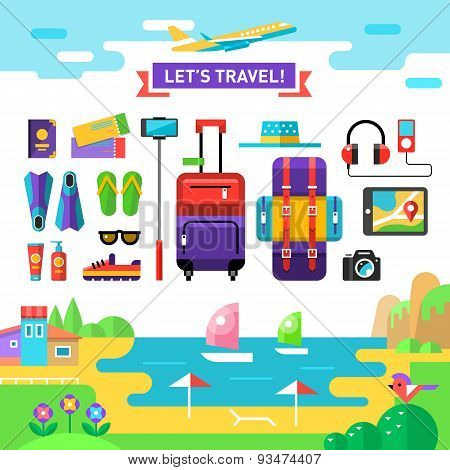 Summertime traveling template with sea, beach and vocation's accessories: suit case, backpack, camer