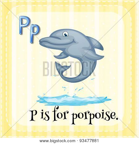 Flashcard letter P is porpoise