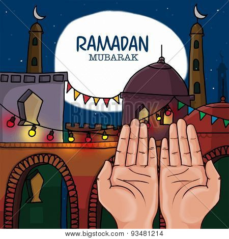 Praying human hands infront of mosque, concept for Islamic holy month of fasting and prayers celebrations, Ramadan Mubarak celebrations.